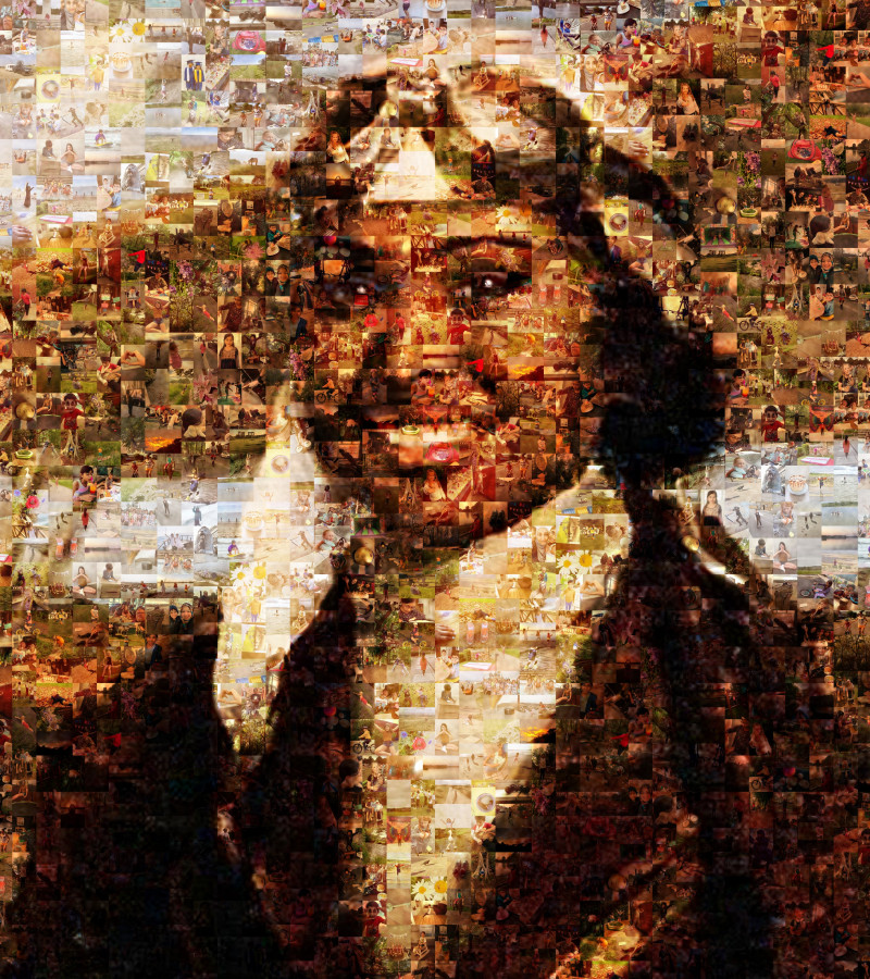 Portrait of Bessie Coleman made up of pictures signifying Freedom chosen by young people