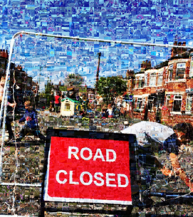 Picture of a road closed with children playing out made up of pictures signifying Freedom chosen by young people