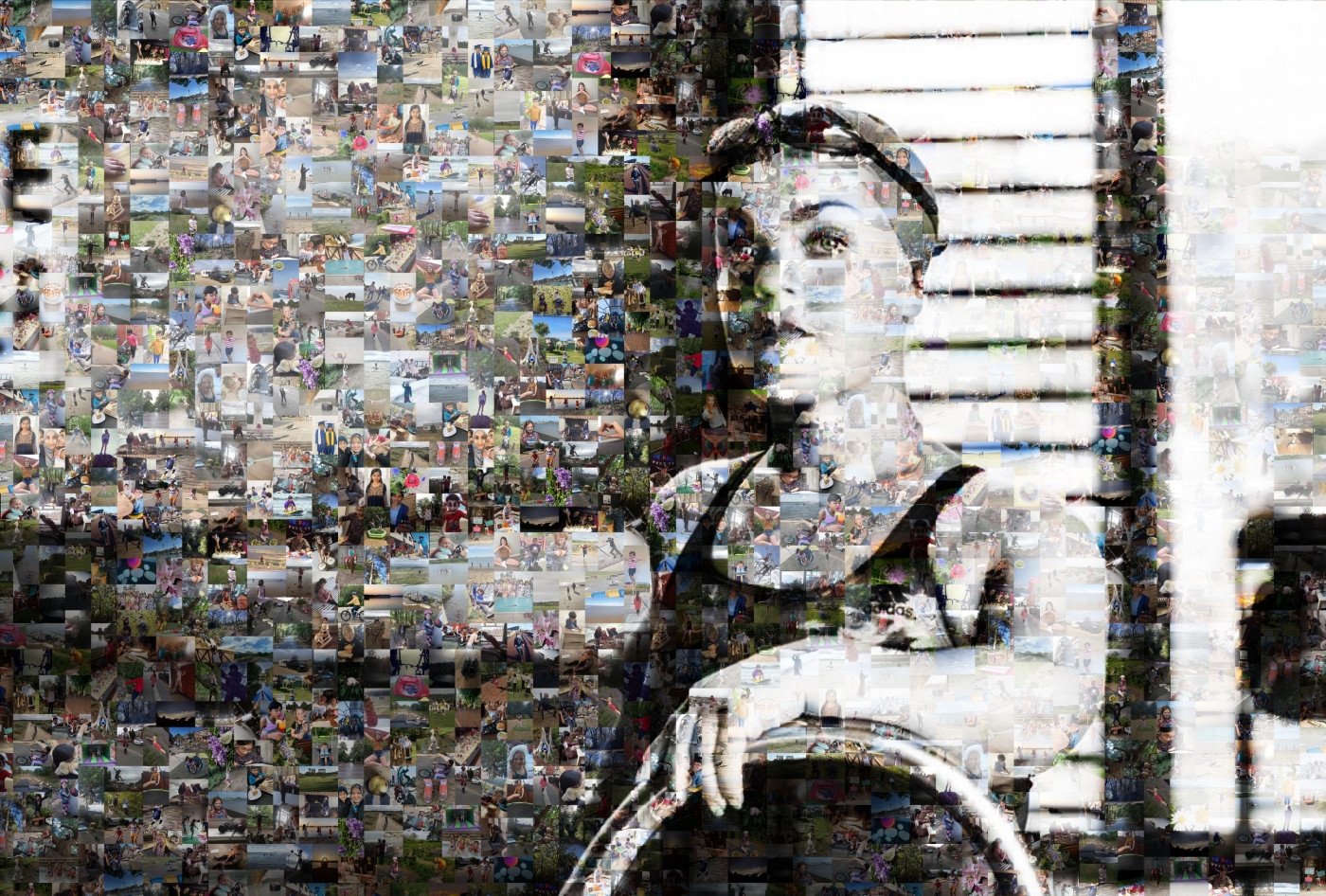 Portrait of Ellie Simmonds made up of pictures signifying Freedom chosen by young people