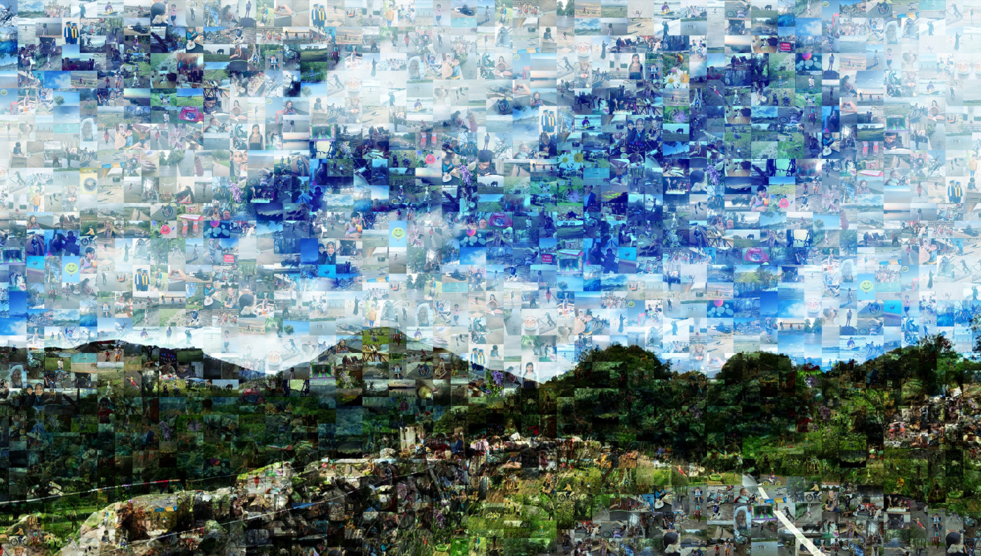 Picture of hills and sky made up of pictures signifying Freedom chosen by young people