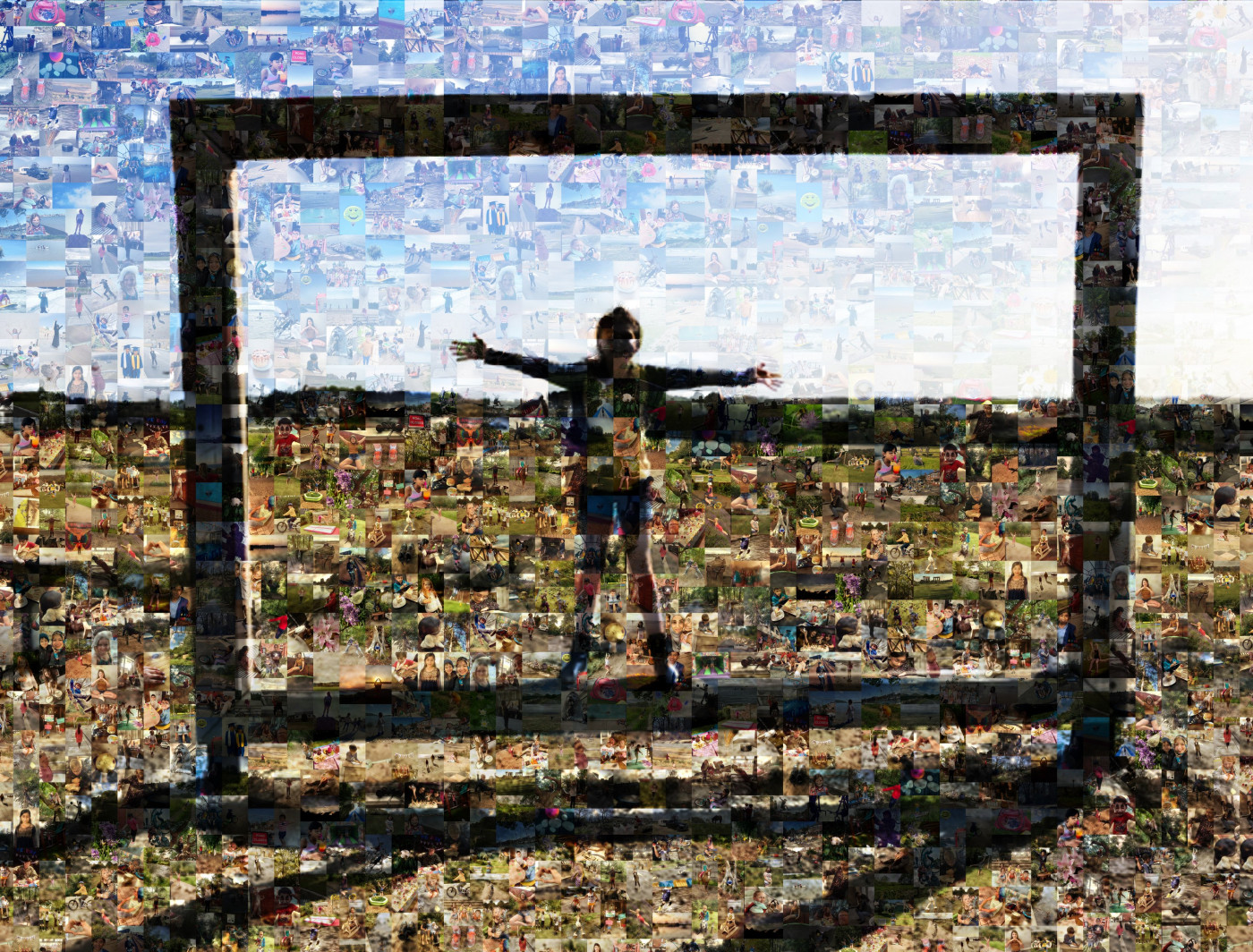 Picture of a young person stood inside an oversized frame in front of a rural landscape to look like a painting, made up of pictures signifying Freedom chosen by young people