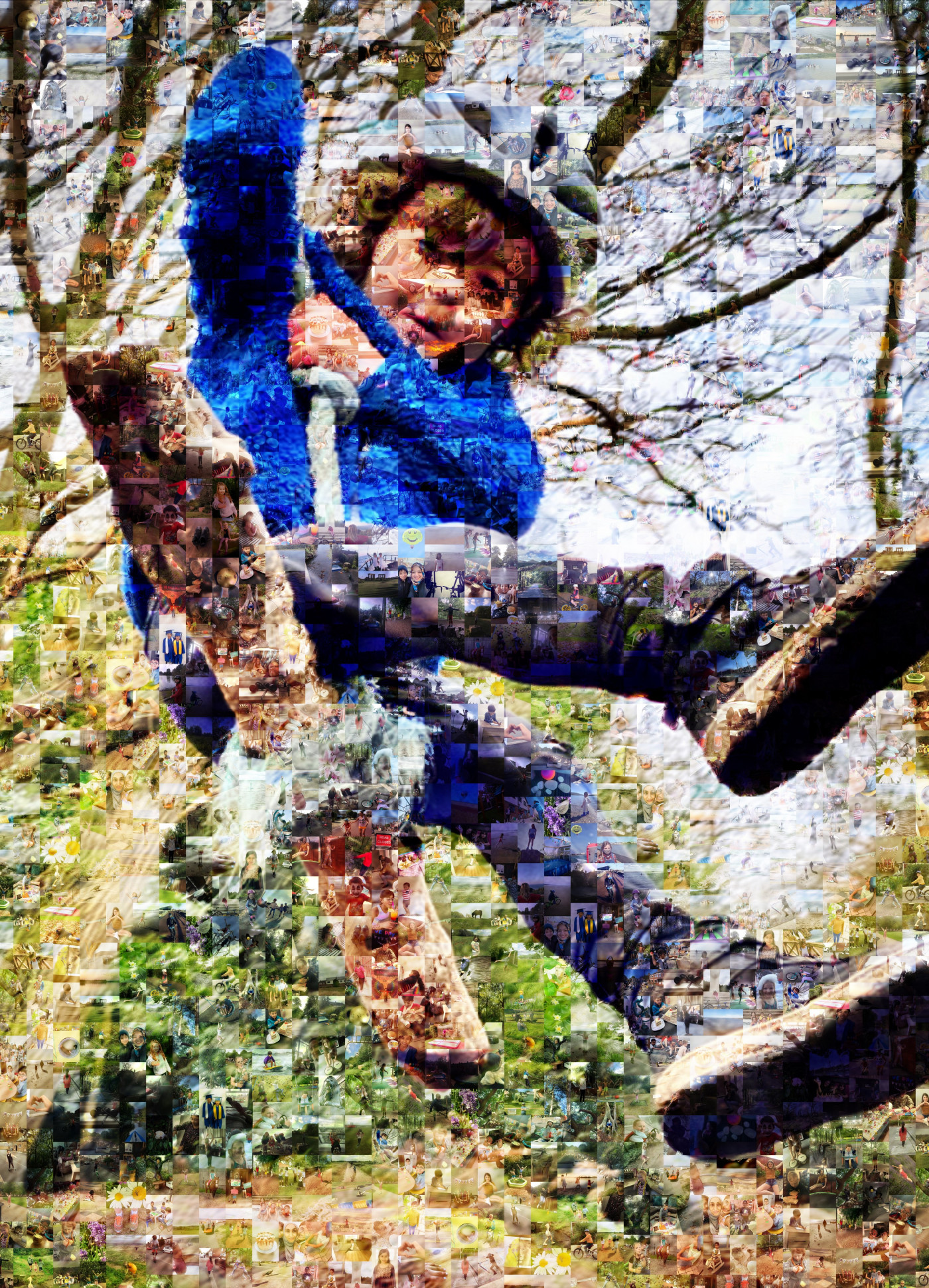 Picture of child on a rope swing made up of pictures signifying Freedom chosen by young people